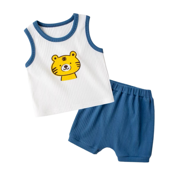 Ribbed Cotton Sleeveless Set Tiger