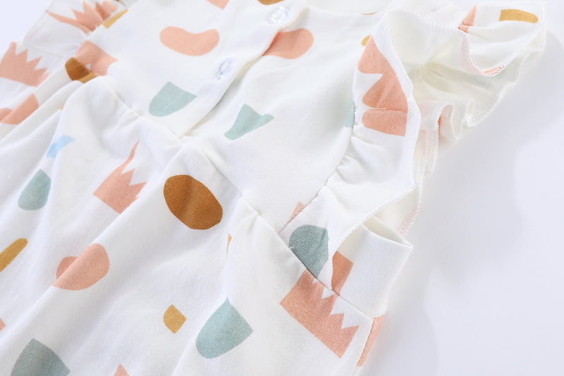 Geometric Confetti Flutter Sleeves Baby Girl Playsuit