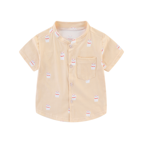 Fortune Cat Mandarin Collar Boy Shirt