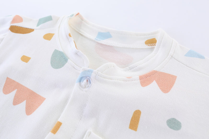 Geometric Confetti Mandarin Collar Boy Shirt