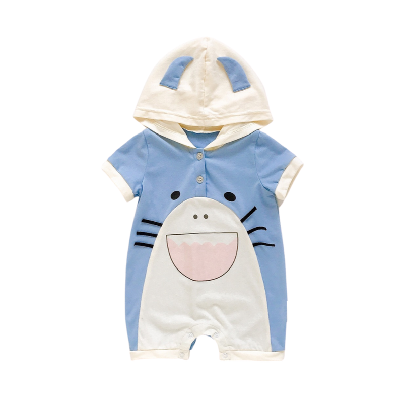 Hooded Short Sleeve Bodysuit Shark
