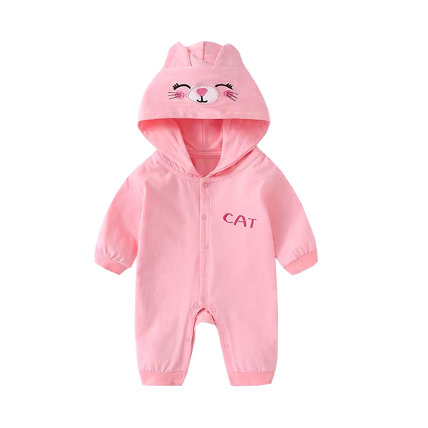 Hooded Cat Pink Jumpsuit