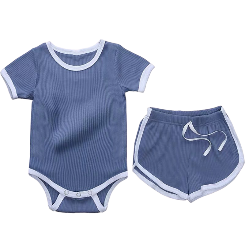 Ribbed Cotton Bodysuit with Shorts Pigeon Blue
