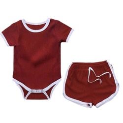 Ribbed Cotton Bodysuit with Shorts Wine