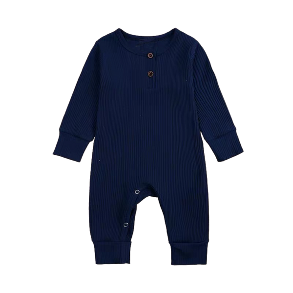 Ribbed Cotton Long Sleepsuit Navy
