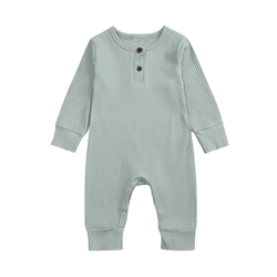Ribbed Cotton Long Sleepsuit Sage