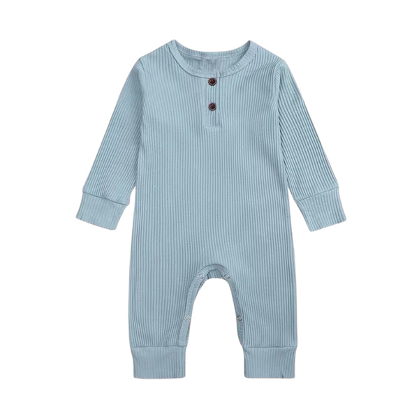 Ribbed Cotton Long Sleepsuit Teal