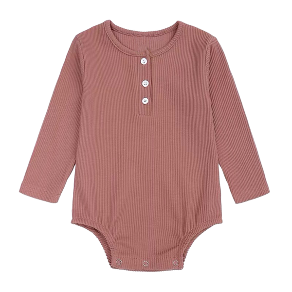 Ribbed Cotton Long Sleeve Bodysuit Apricot
