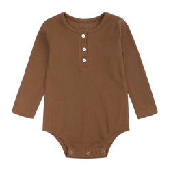 Ribbed Cotton Long Sleeve Bodysuit Nut