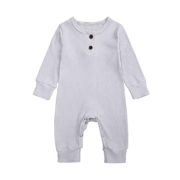 Ribbed Cotton Long Sleepsuit Slate