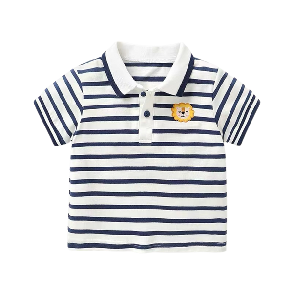 Soft Polo Top Stripes Lion
