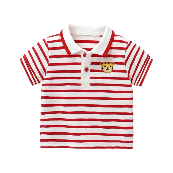 Soft Polo Top Stripes Tiger