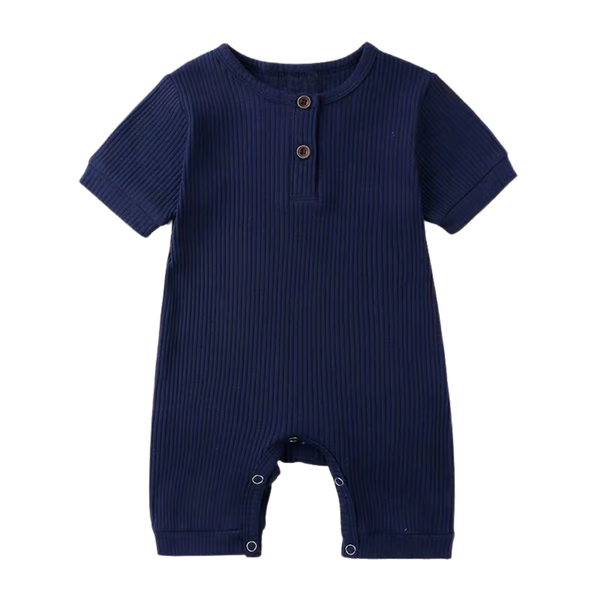 Stretchy Ribbed Cotton Bodysuit Navy