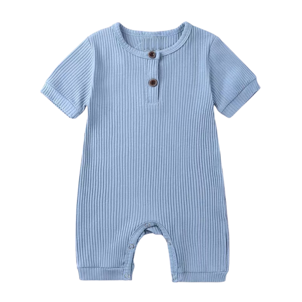 Stretchy Ribbed Cotton Bodysuit Pigeon Blue