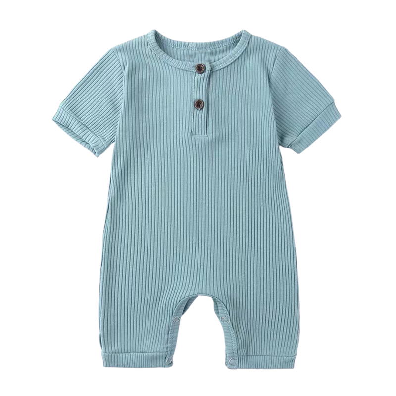 Stretchy Ribbed Cotton Bodysuit Teal