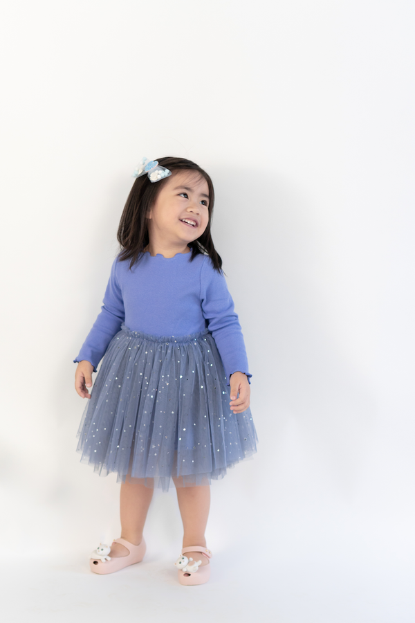 Elsa Tulle Dress in Slate Blue