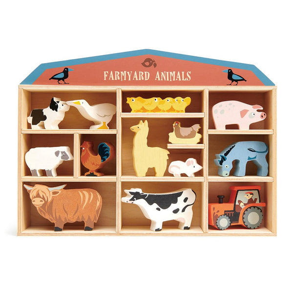 Farm Animals With Display Wood Shelf