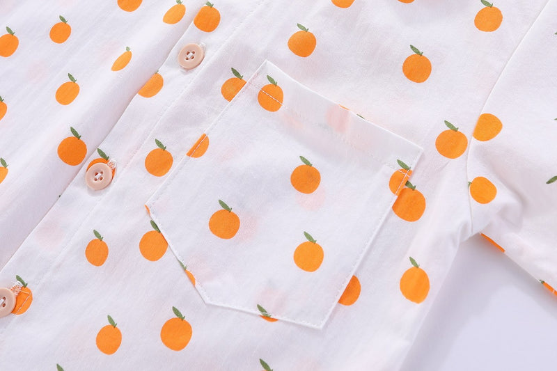 Orange Sweetheart Mandarin Collar Shirt