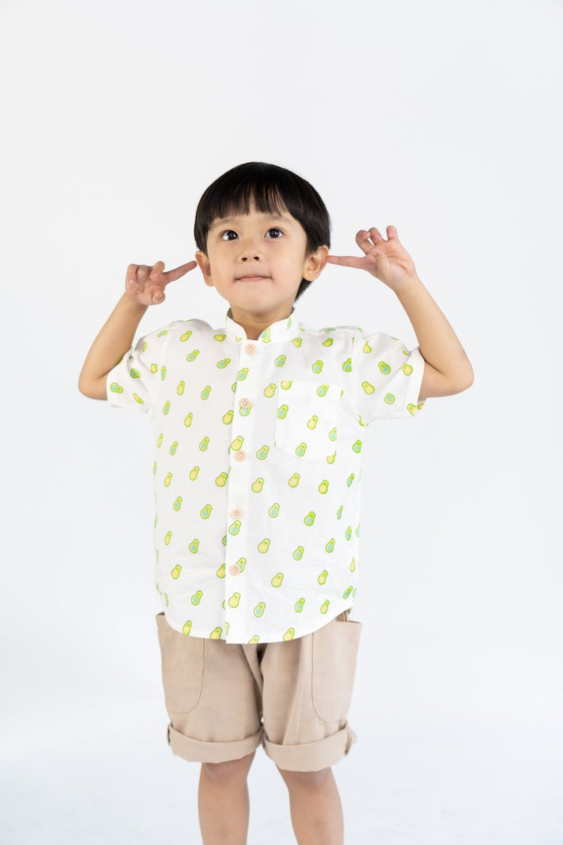 Radiance Avocado Mandarin Collar Shirt