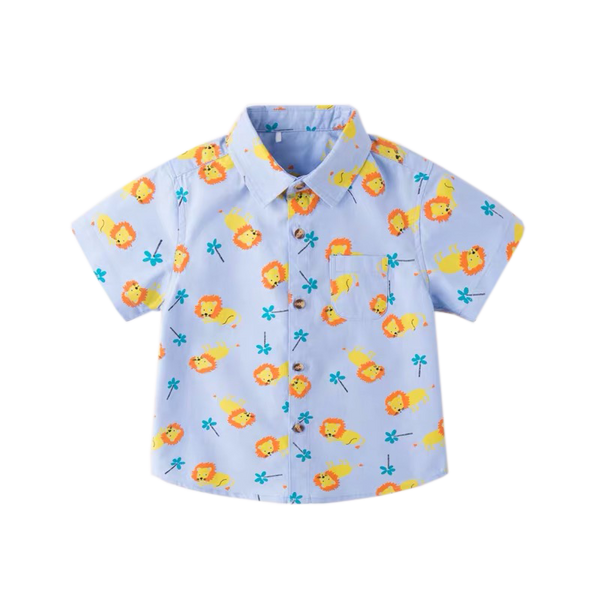 Spring Lion Print Blue Collar Shirt