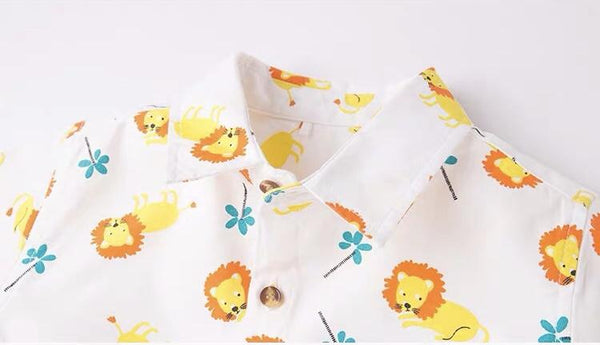 Spring Lion Print White Collar Shirt