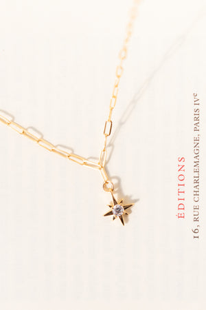 Amantine vintage inspired north star pendant necklace affordable gold filled romantic jewelry