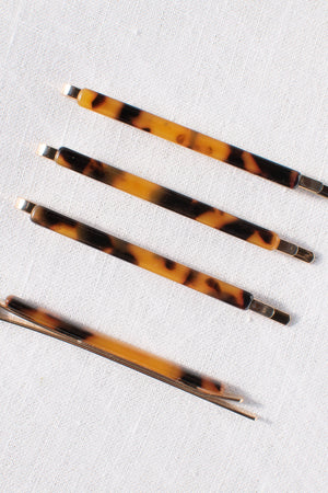 brown tortoiseshell set of four acetate gold hair pins