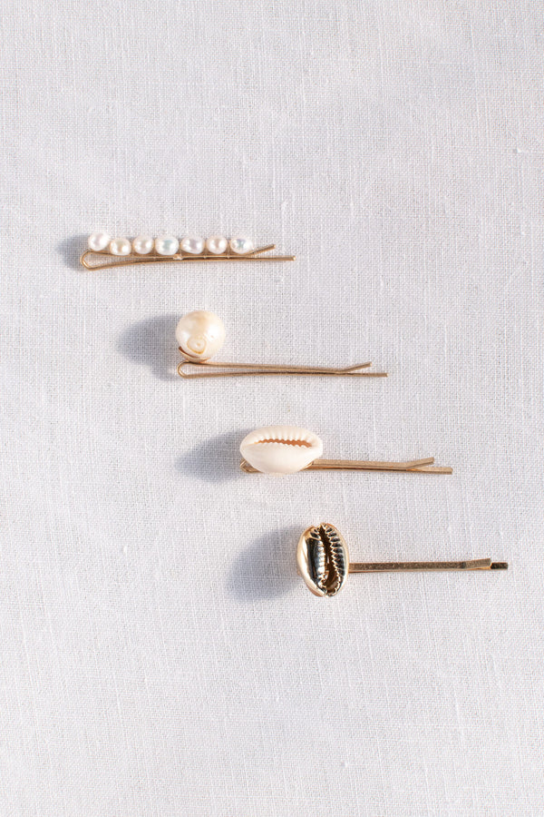 set of 4 pearl cowrie shell gold hair accessory pins