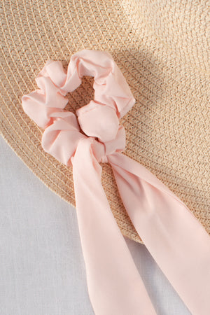 classic sold color hair scarf scrunchie ribbon