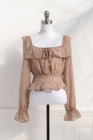 smocked cottagecore romantic floral pink cropped top blouse