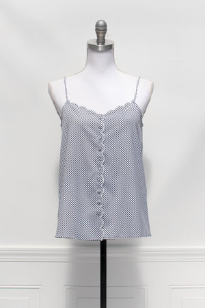 scalloped polka dot black and white cami top
