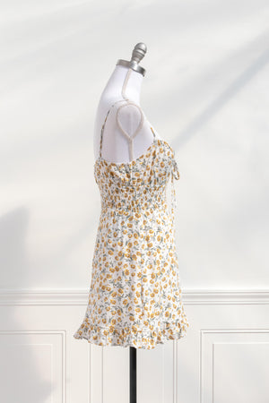 cute cottagecore floral white yellow short sundress