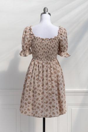 light brown oatmeal smocked romantic cottagecore short floral dress