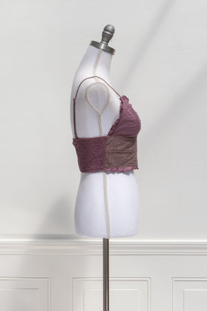 Sylvie Embroidered Bralette - Plum