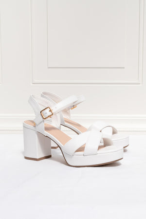 white vegan leather platform heel sandal