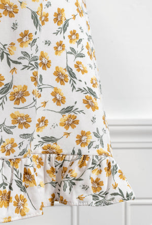 cute cottagecore floral white yellow short sundress fabric detail
