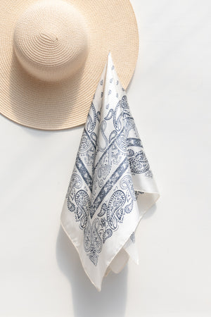 blue white silky paisley summer scarf accessory