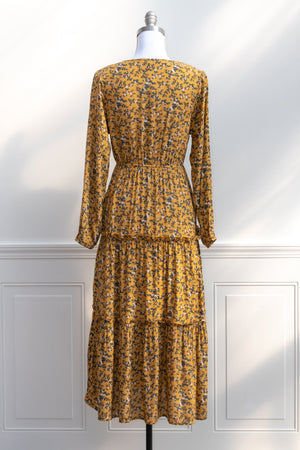 1970s vintage style Boho spring summer festival mustard and blue floral tiered peasant midi dress
