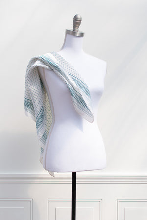 French girl style silk green white patterned hair scarf accessory