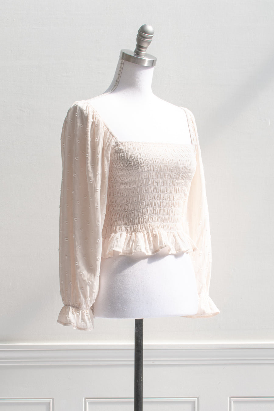 cream peach cottagecore smocked long sleeve cropped cream peasant top