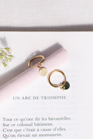 feminine french dainty minimalist cottagecore simple hoop charm gold earrings