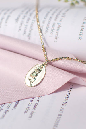 feminine french inspired mermaid siren simple minimalist gold pendant necklace
