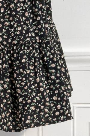 Romantic and feminine dark floral baby doll dress detail Amantine Boutique
