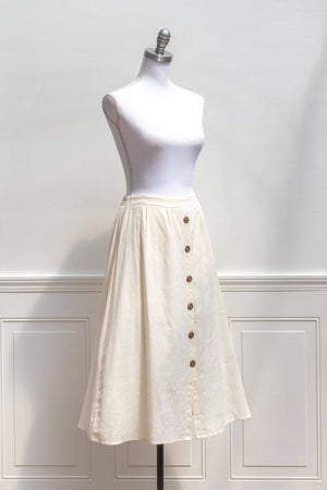 linen midi skirt regular and plus size button down cream white french girl style