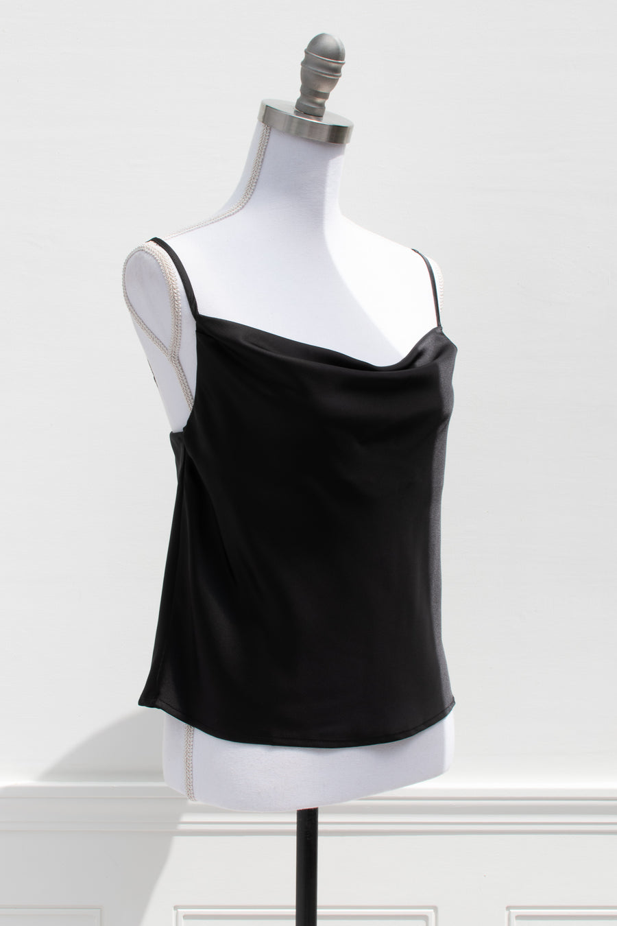 Feminine elegant black satin top. Romantic
