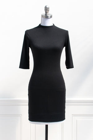 feminine french 1960s vintage style sexy short little black dress ribbed knit