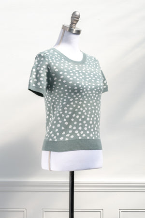 cute vintage retro dot short sleeve knit sweater top teal blue green