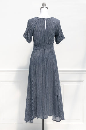 french girl style blue white striped midi maxi slit tie front dress