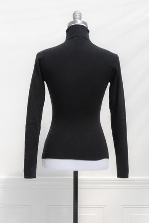 Romantic Ribbed black turtleneck sweater top soft french classic style