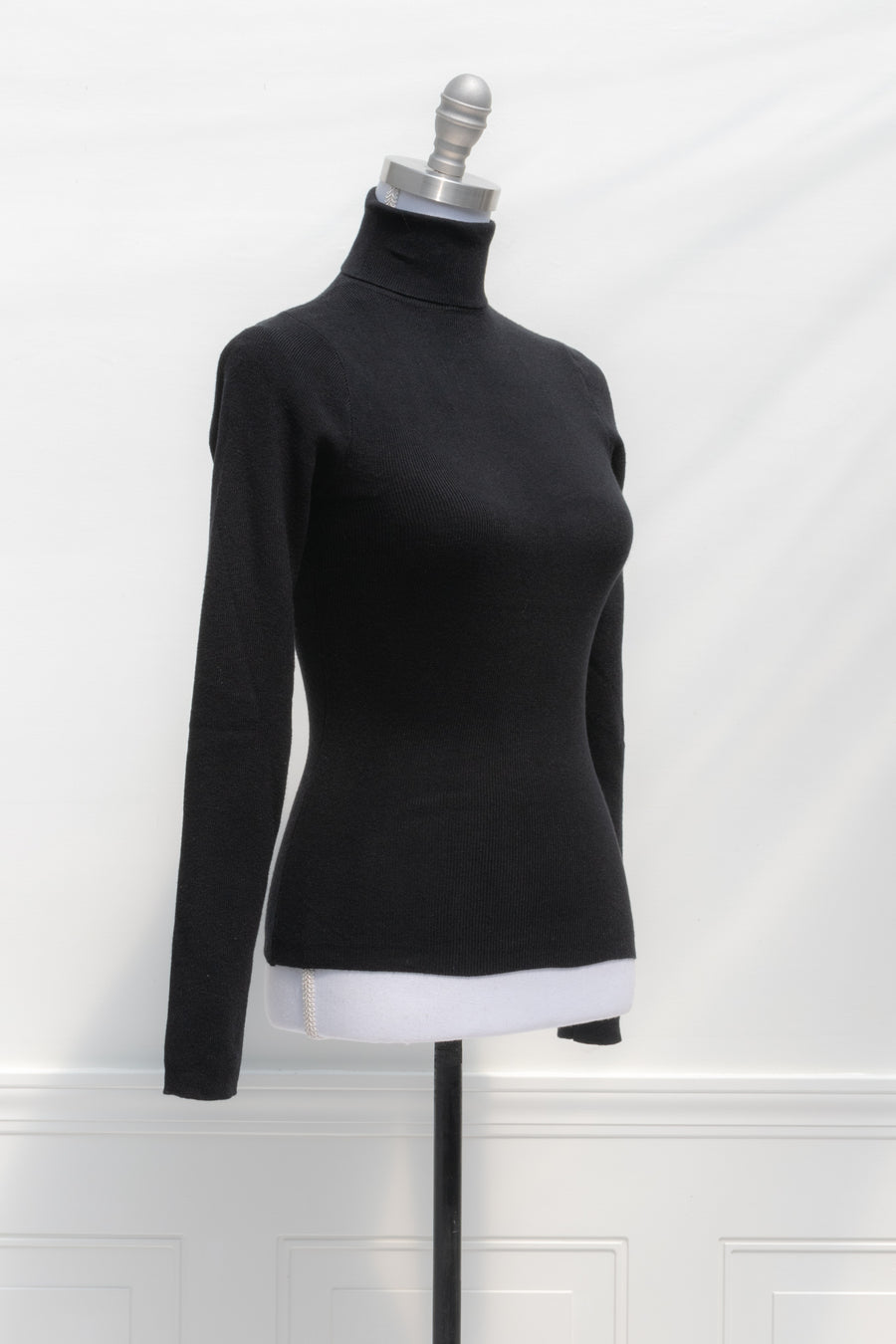 Ribbed black turtleneck sweater top soft french classic style romantic